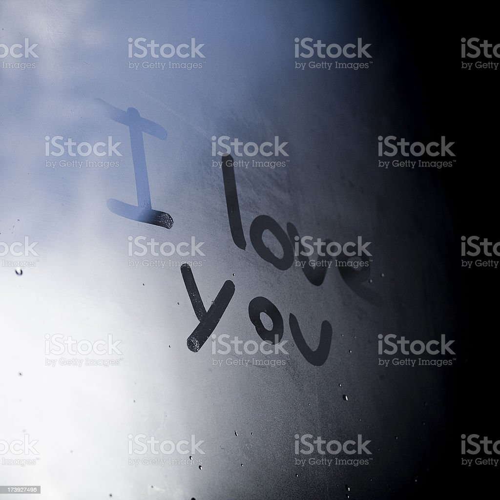 Love message on a window royalty-free stock photo