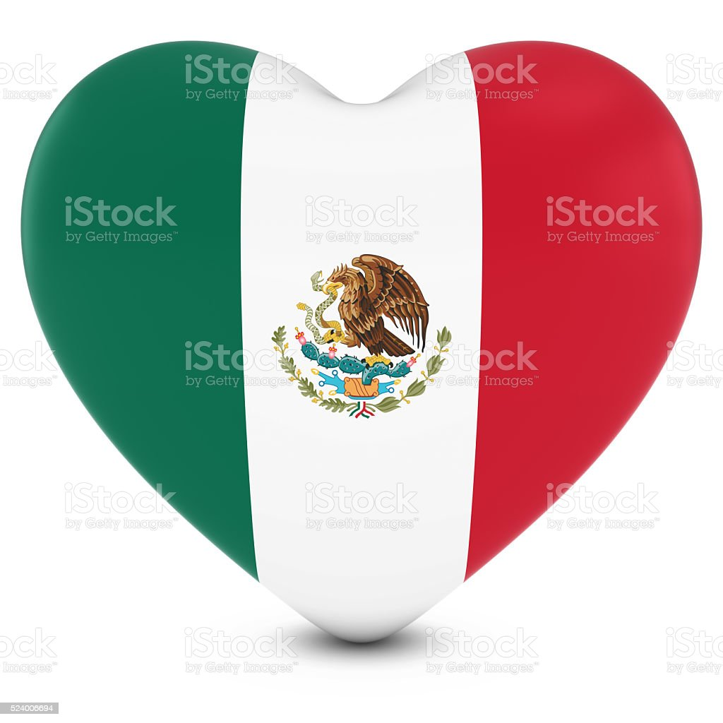 Love Mexico Concept Image - Heart textured with Mexican Flag stock photo