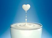 Drop of milk in form of heart