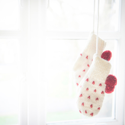 Love Mittens Hanging By The Window Stock Photo - Download Image Now