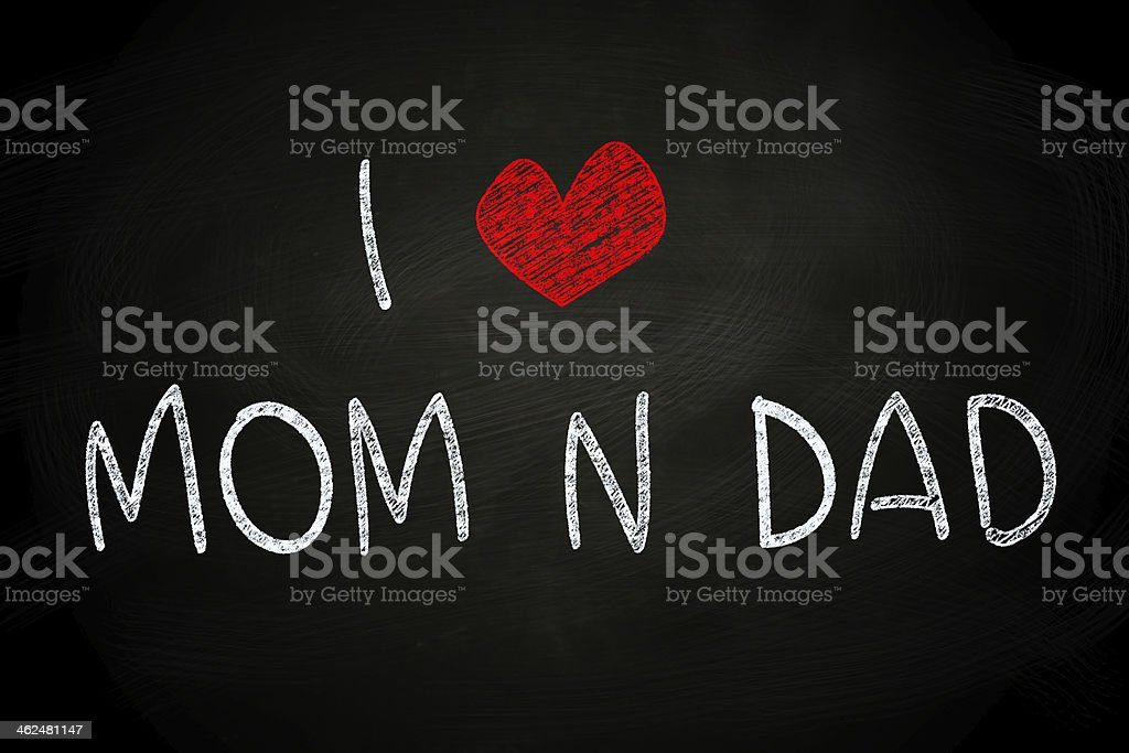 I Love Mom and Dad stock photo