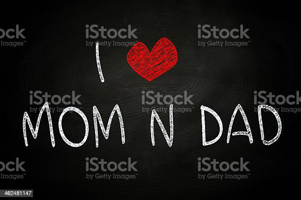 I Love Mom and Dad, written with Chalk on Blackboard