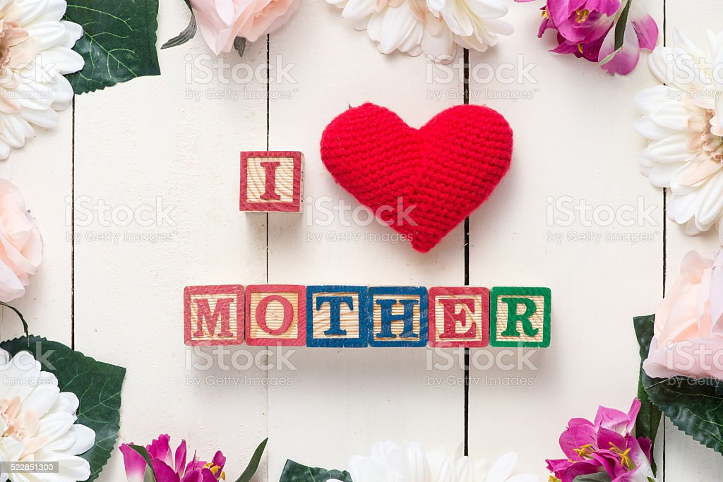 I love mother message stock photo