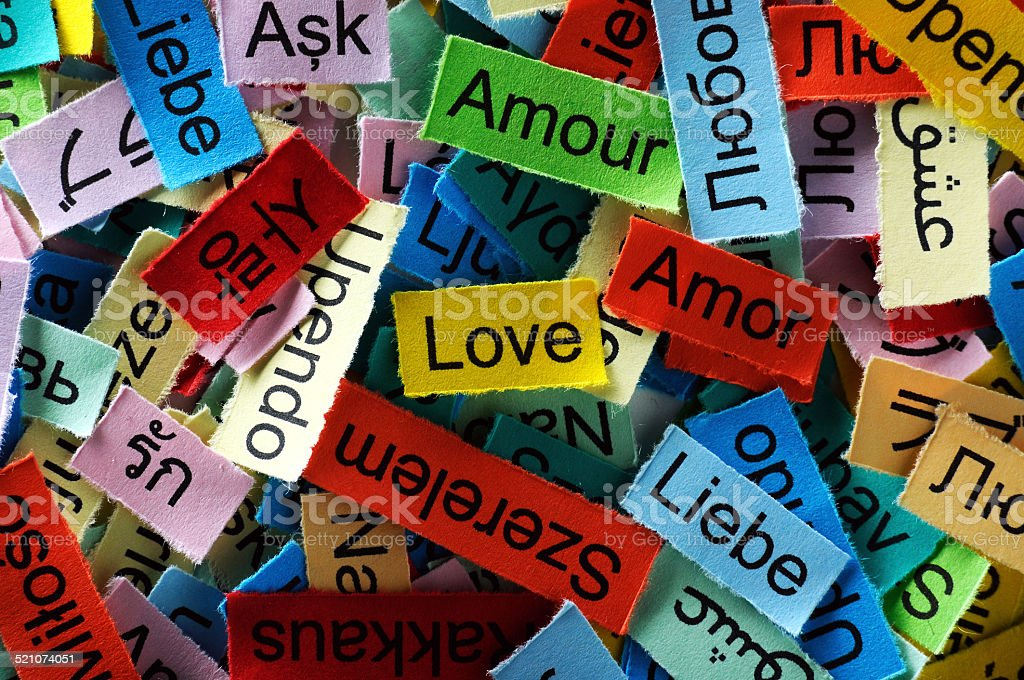 love multilingual word stock photo