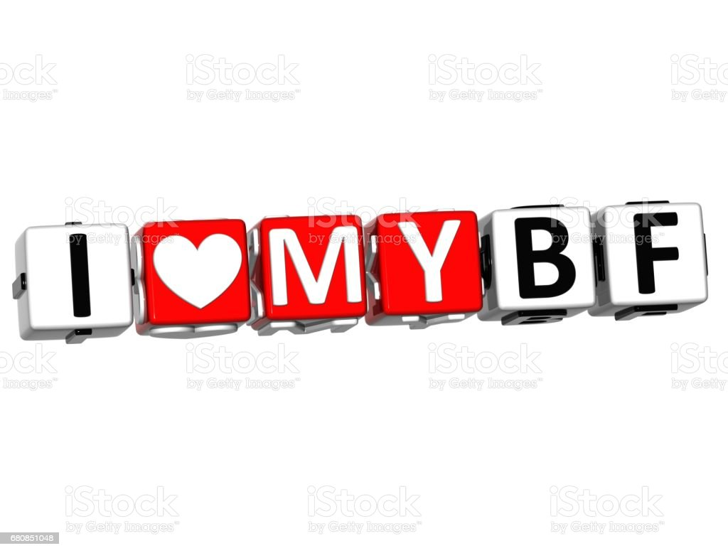 3D I Love My BF Button Click Here Block Text royalty-free stock photo