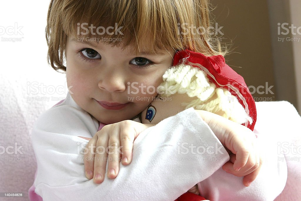 I love my doll. royalty-free stock photo