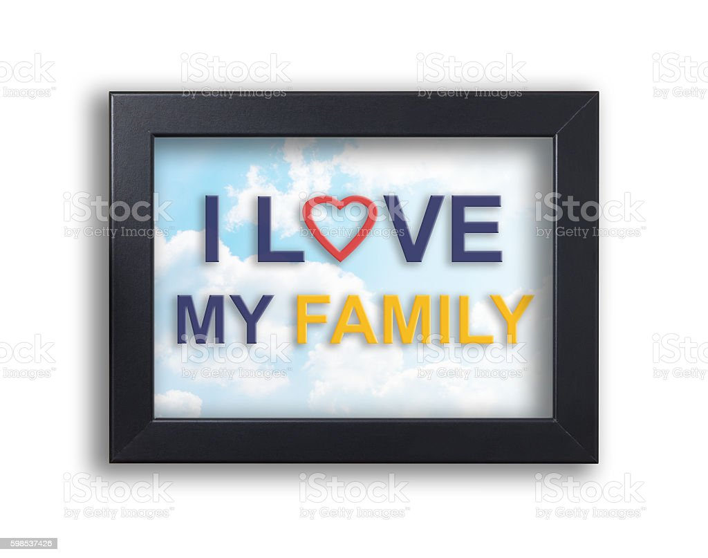 I love my family text on black frame with sky photo libre de droits