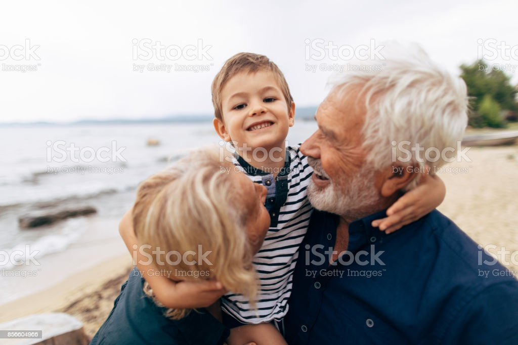 Love my grandparents! stock photo