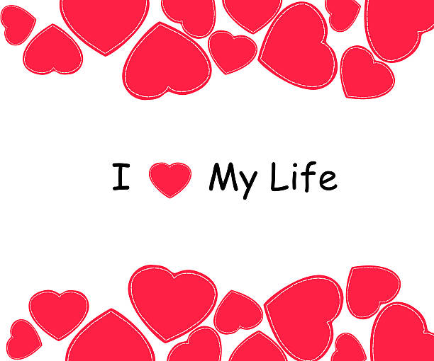 i love my life, font type with heart sign. - elternzitate stock-fotos und bilder