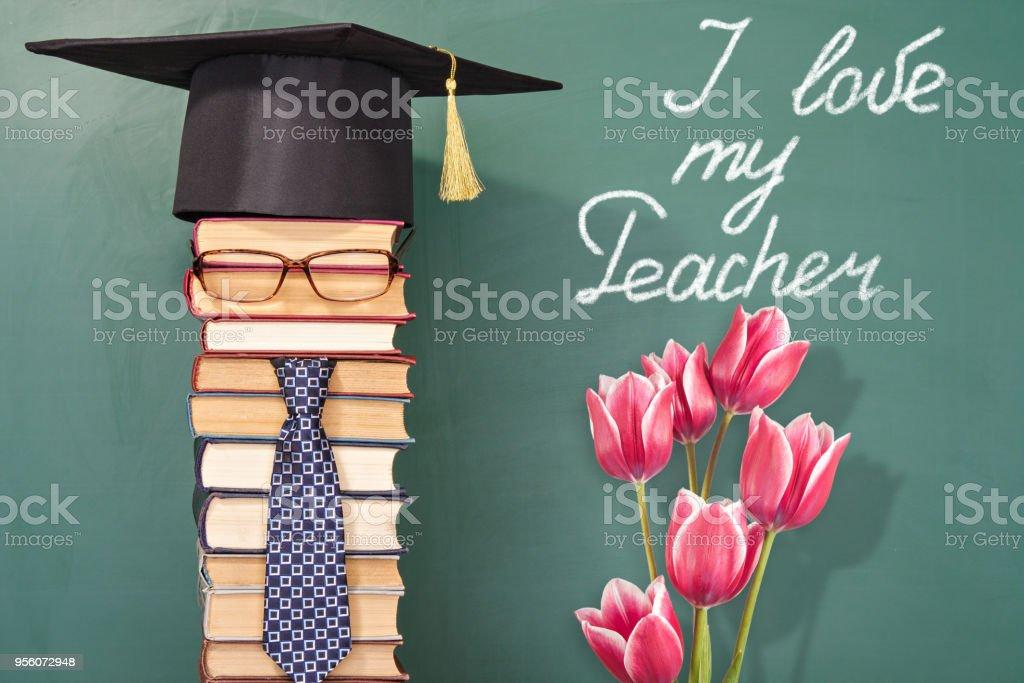 I love my Teacher, funny education concept with man teacher and...