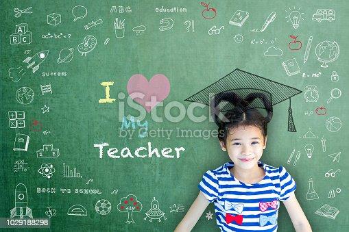 977488078 istock photo I love my teacher hand writing doodle on chalkboard for teacher appreciation week and world teacher day concept 1029188298
