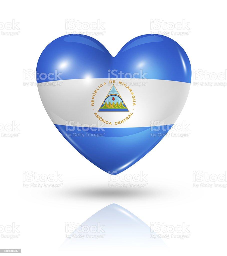 Amor corazón icono bandera de Nicaragua, - foto de stock