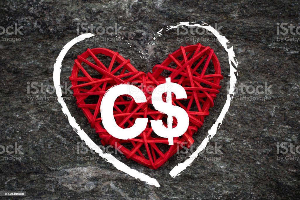 Love Of Money Canada Dollar Symbol On A Red Heart Stock Photo More