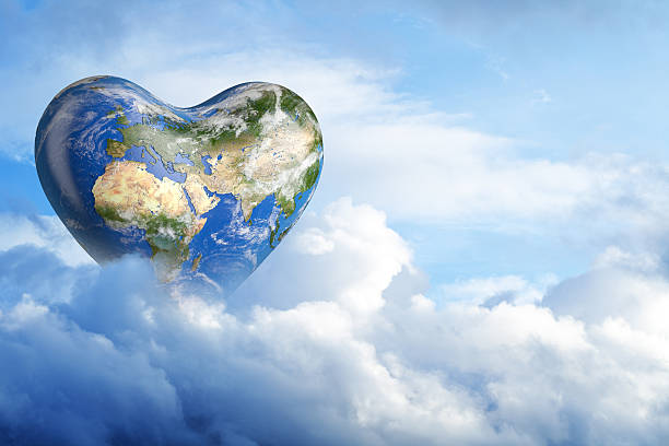 love of planet earth in the clouds. - recycling heart bildbanksfoton och bilder
