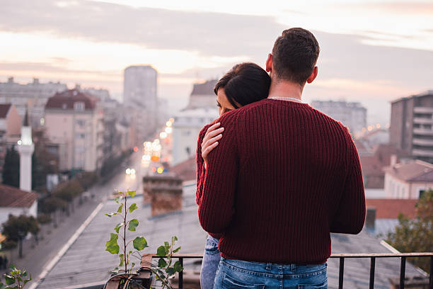 Love on rooftop stock photo