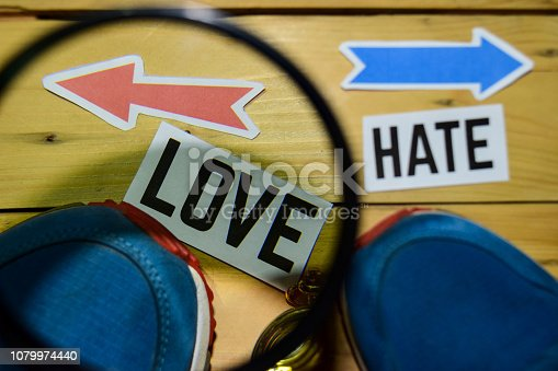 istock Love or Hate opposite direction signs in magnifying 1079974440