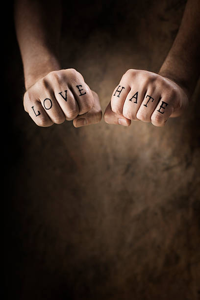 love or hate - knuckle stock photos and pictures