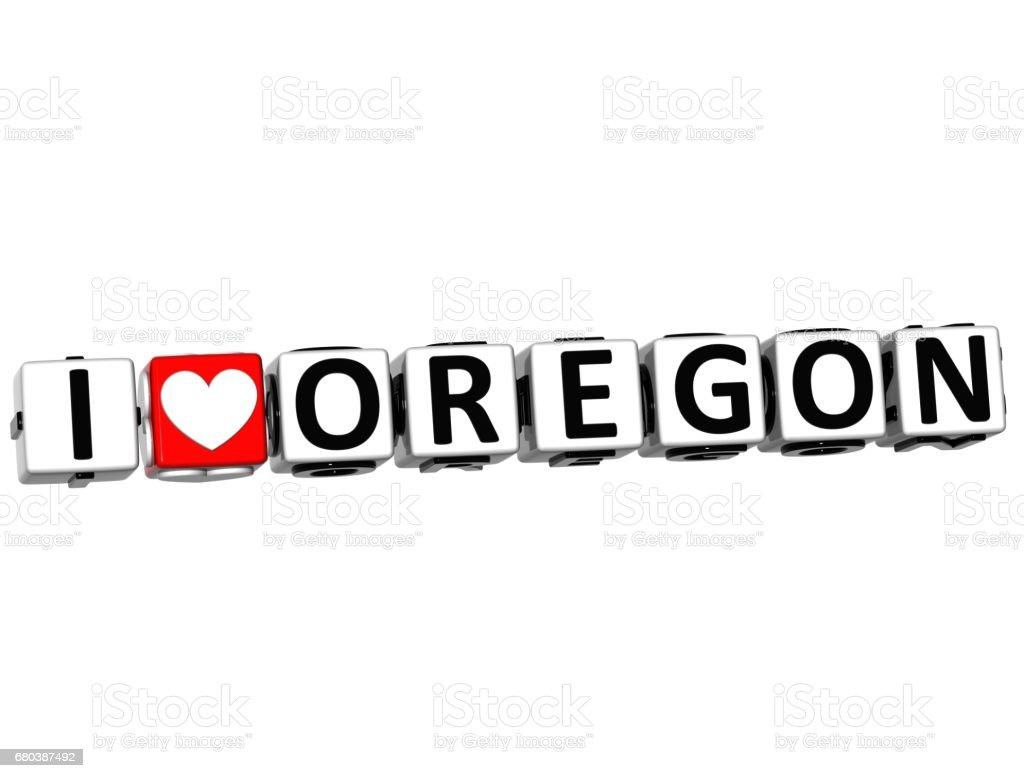 3D I Love Oregon Button Click Here Block Text stock photo