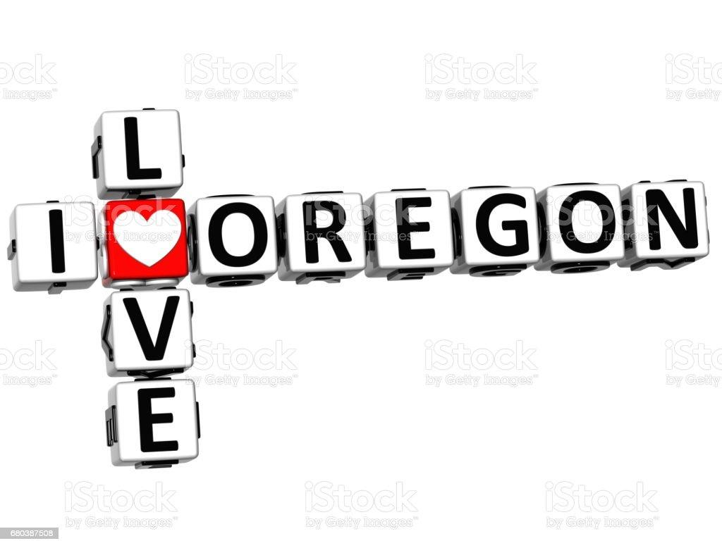 3D I Love Oregon Crossword stock photo