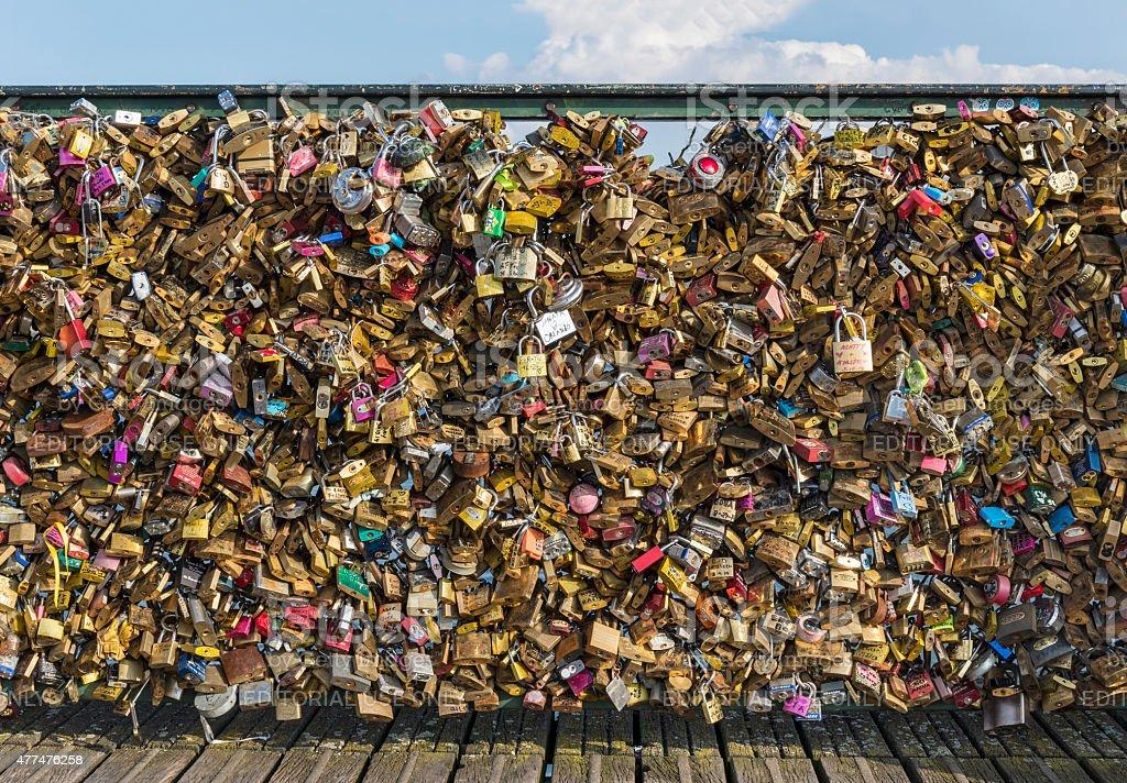 Love padlock frenzy stock photo