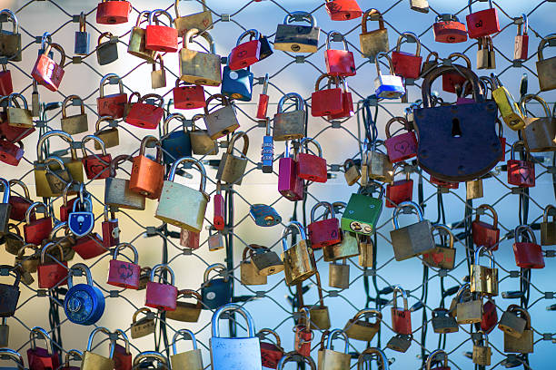 "Love Padlock love padlock or Lucchetti d'Amore, also ""Liebesschlösser"" in German Love locks are fitted as a sign of love at bridges. affix stock pictures, royalty-free photos & images"