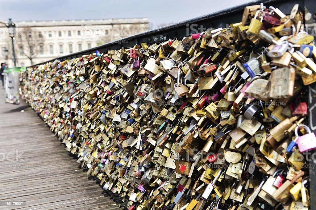 Love padlocks, a tradition of the romantic Paris stock photo