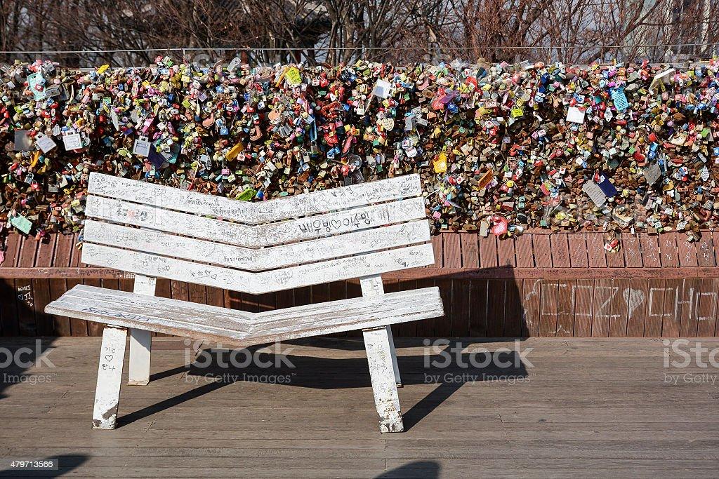Love padlocks at N Seoul Tower, South Korea stock photo