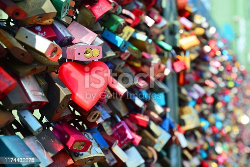 Hohenzollern bridge with love padlocks in Cologne, Germany. Composite photo