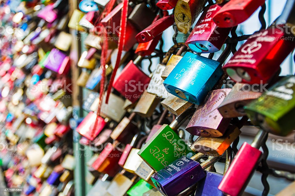 Love Padlocks On The Bridge in Cologne royalty-free stock photo