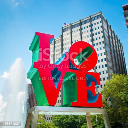 Philadelphia, United States - July 5, 2013: The Love Sculpture by the pop artist Robert Indiana was placed in Philadelphia's