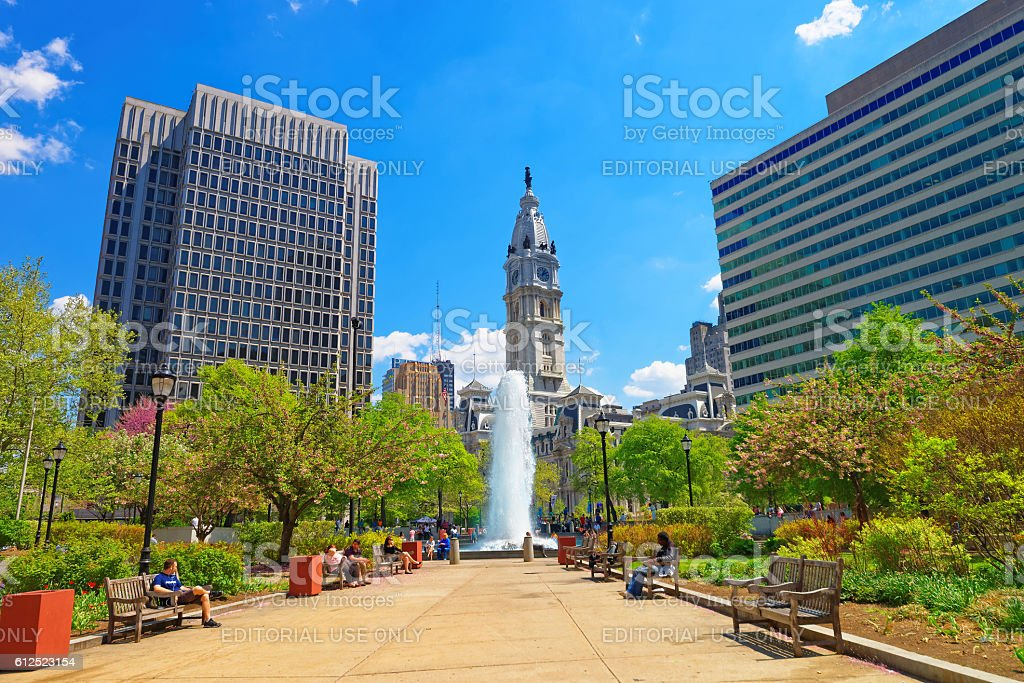 Love Park with Fountain and Philadelphia City Hall on background stock photo