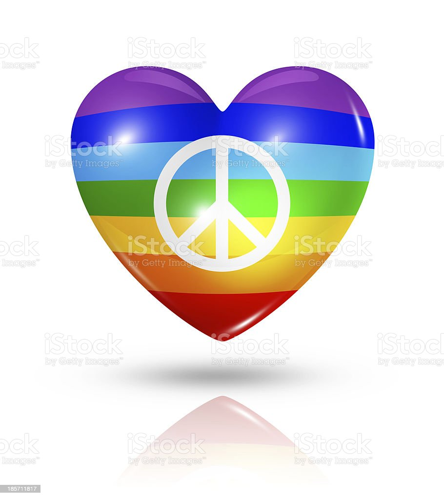 Love peace, heart flag icon royalty-free stock photo