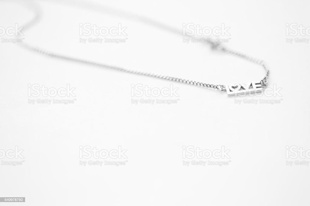 Love pendant necklace stock photo