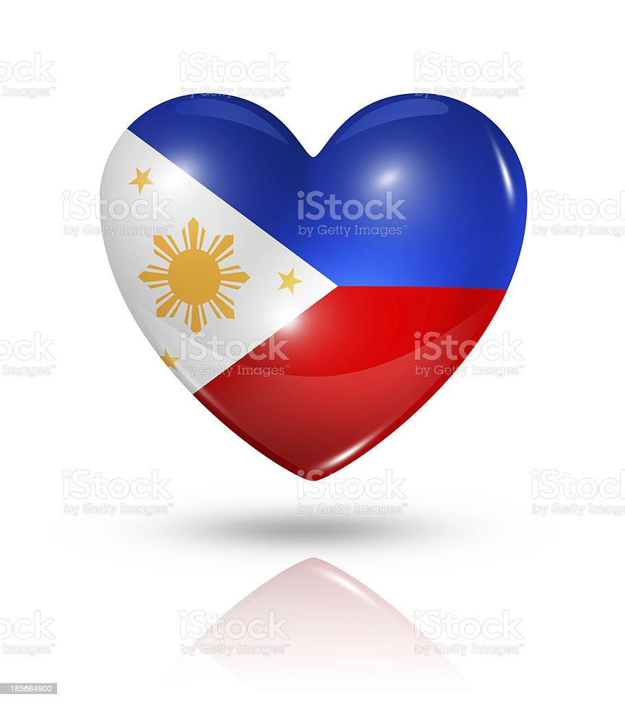 Love Philippines, heart flag icon stock photo