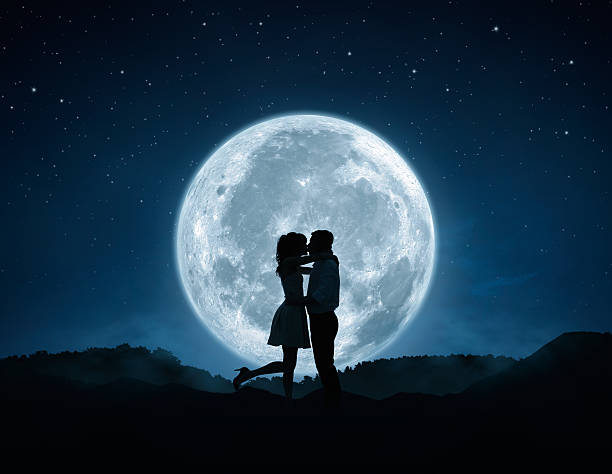 love - romantic moon stock photos and pictures