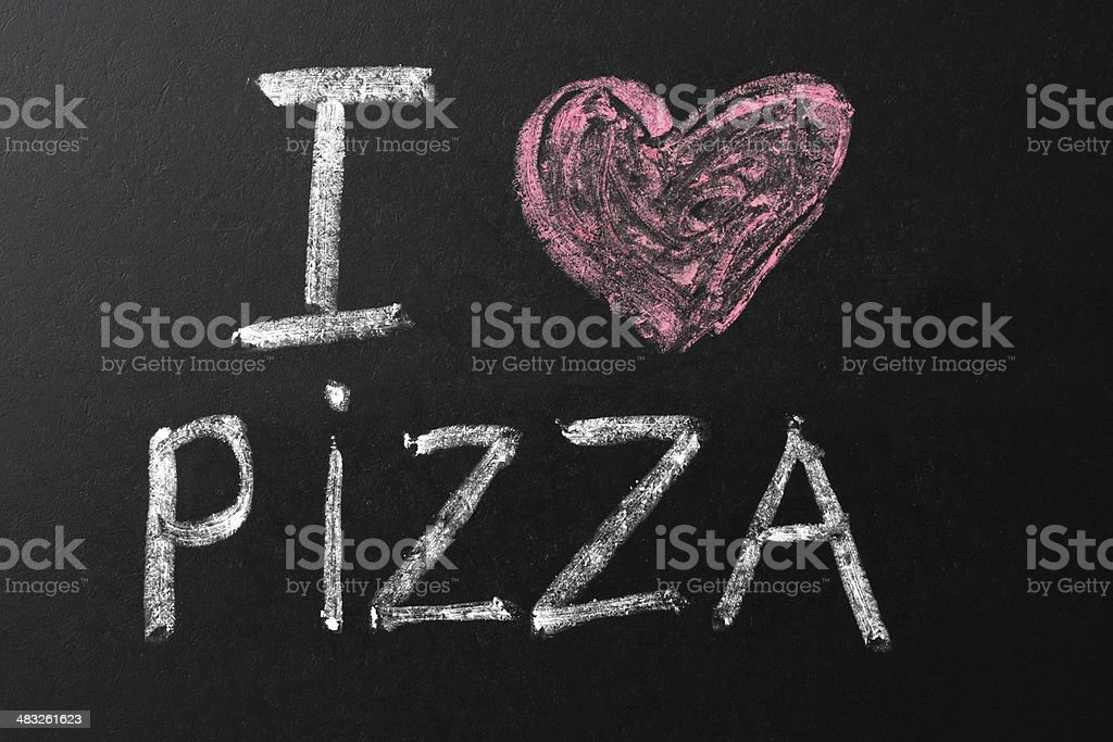 I Love Pizza Chalk Text on Blackboard royalty-free stock photo