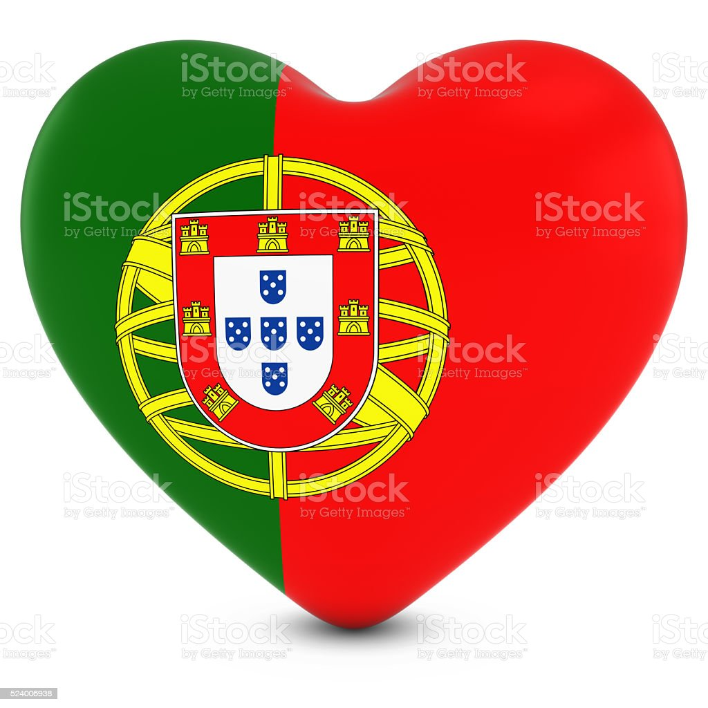 Love Portugal Concept Image - Heart textured with Portuguese Flag stock photo