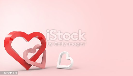 istock Love Red Heart Valentines Day romance greeting card Paper art style of Happy on pastel Pink background - 3d rendering 1137084415