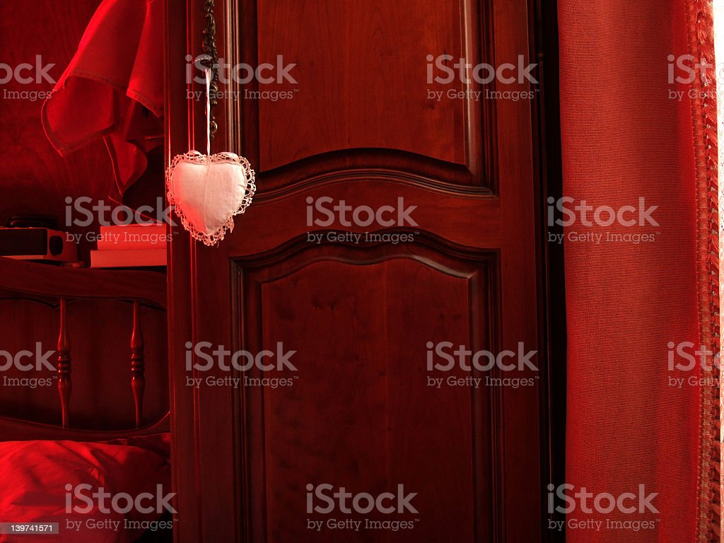 love room with white heart stock photo