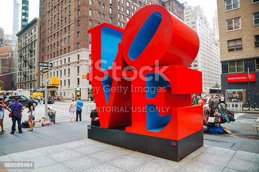 NEW YORK CITY - SEPTEMBER 5: Love sculpture at 55th street with tourists on September 5, 2015 in New York City.