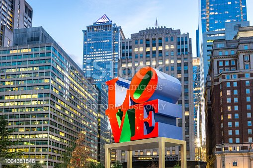 The landmark reproduction of Robert Indiana's Love sculpture located on John F. Kennedy Plaza in downtown Philadelphia, Pennsylvania, USA.