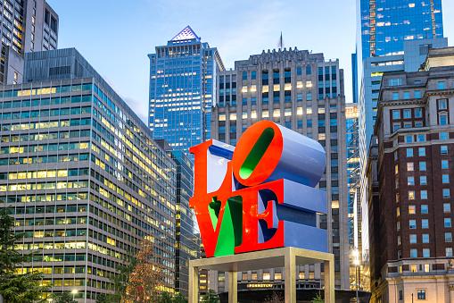 Love sculpture in downtown Philadelphia USA