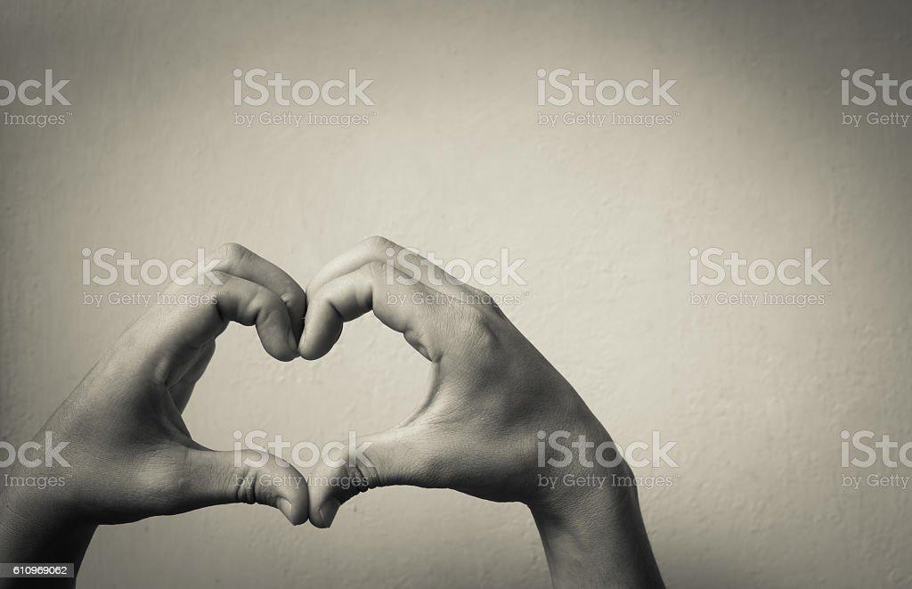 Love shape hands stock photo