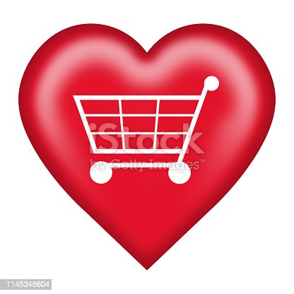 istock A love shopping cart heart button isolated on white with clipping path 1145345604