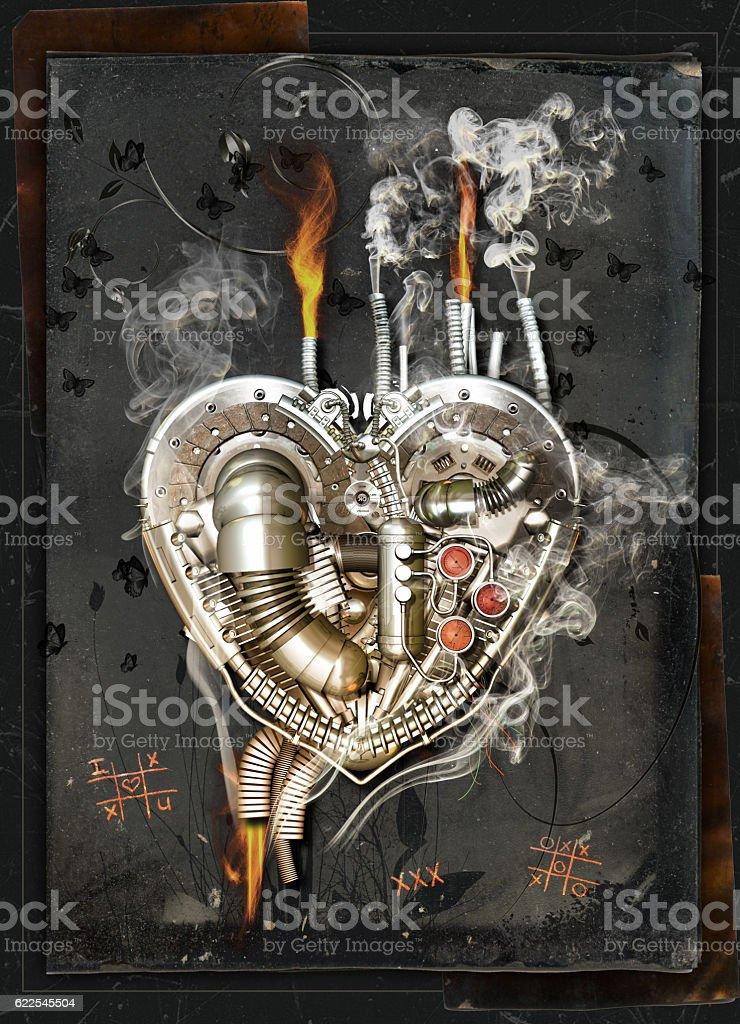 love sickness, 3D Illustration A mechanical heart has a love sickness, 3D Illustration Broken Stock Photo