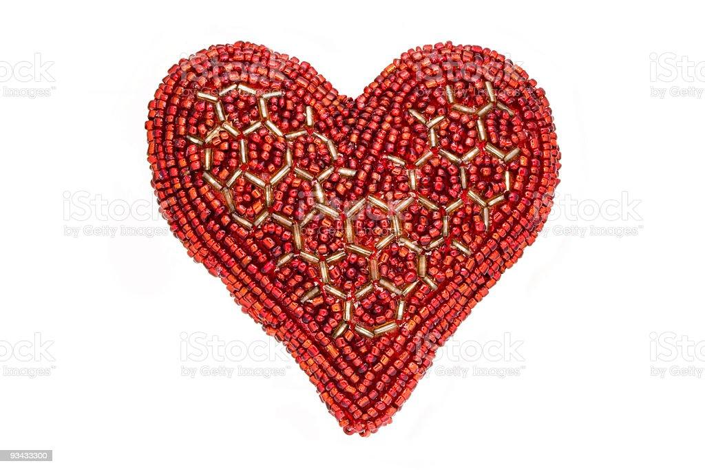 Liebe Symbol Rotes Herz aus Perlen, isoliert auf weiss Lizenzfreies stock-foto