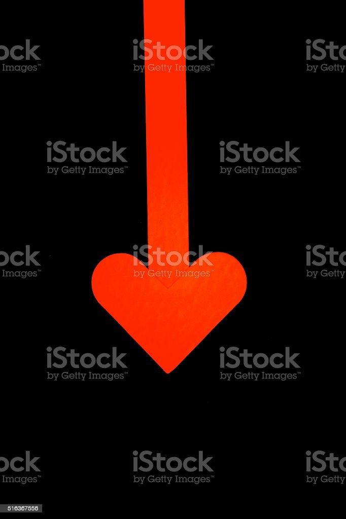 love sign red heart shape arrow romance symbol stock photo