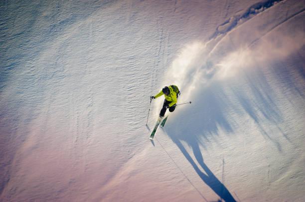I love skiing in Powder snow stock photo