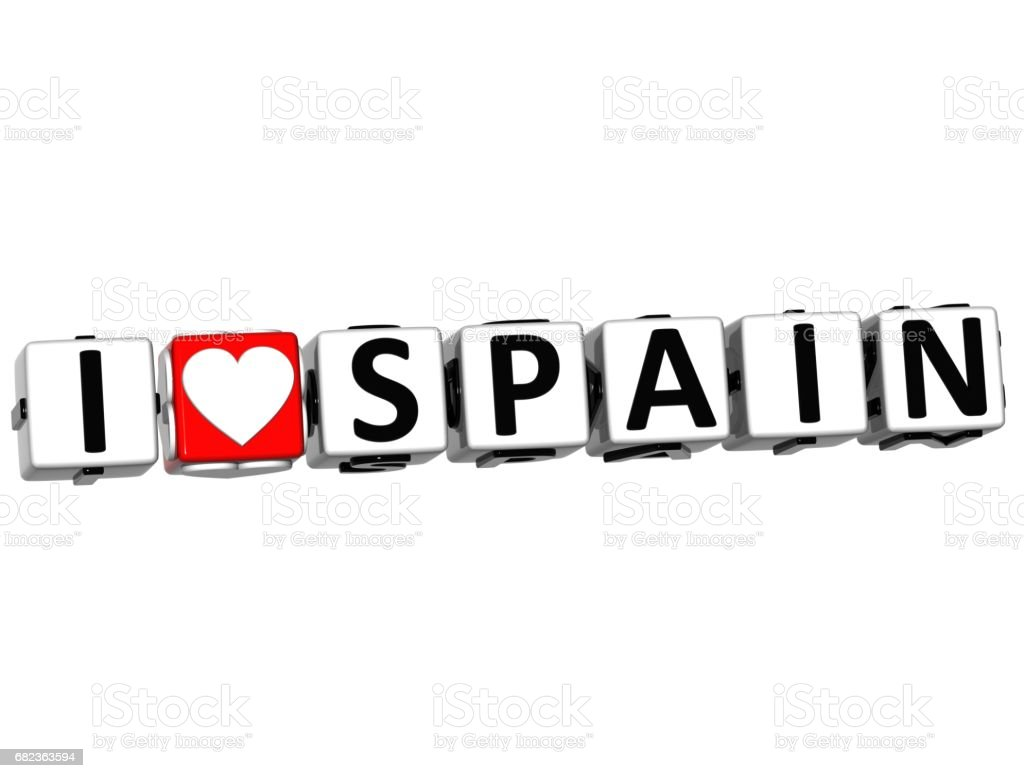 3D I Love Spain Button Click Here Block Text foto stock royalty-free
