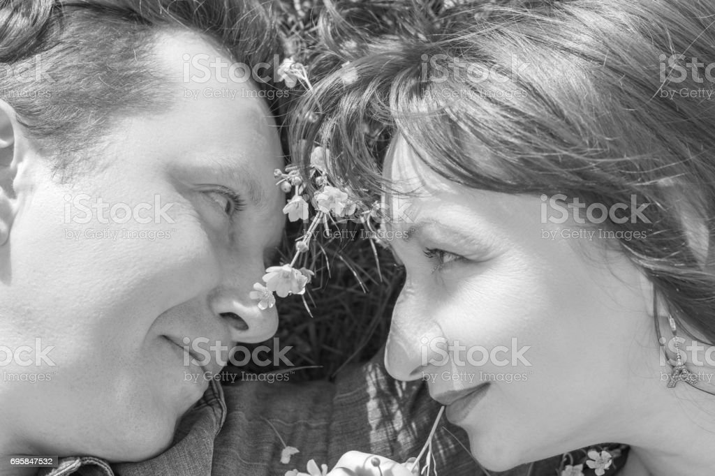 Love story. Black and white. royalty-free stock photo